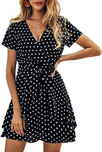 SVALIY Women V Neck Short Sleeve Polka Dot A-Line Ruffle Wrap Beach Party Mini Short Dresses Black ()