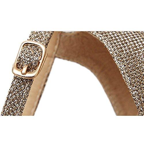 Womens Classic Stiletto High Heel Ankle Strap Sandals Golden