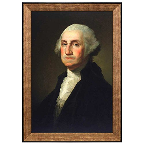 wall26 - Portrait of George Washington by Gilbert Stuart (1st President of the United States) - American Presidents Series - Framed Art Print Ready to Hang - 16
