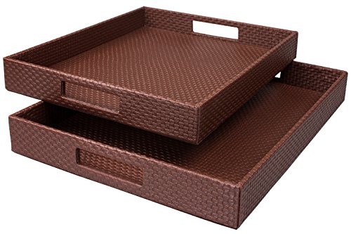 WOOSAL Decorative Tray Rectangular Leather Rattan Serving Tray with Handles for Bed/Sofa/Coach/Home/Kitchen,Set of 2 (Brown)