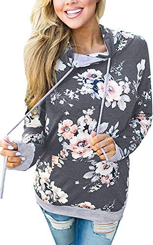 NEWCOSPLAY Women Hoodies-Tops Floral Printed Long Sleeve Drawstring Sweatshirt with Pocket (S, 0552Dark Grey)