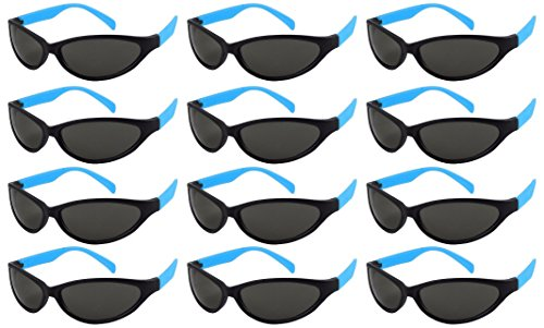 Edge I-Wear 12 Pack ADULT Neon Party Sunglasses CPSIA Certified Lead (Pb) Content Free 100% UV Protection (Made in Taiwan)5460RA/BU-12