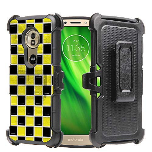 Motorola G6 Play 2018 Case, DuroCase Hybrid Dual Layer Combat Armor Style Kickstand Case w/Holster Black Yellow Checker ()