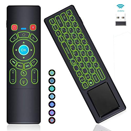 [7-Color Backlit] Gyro Air Remote Mouse Mini Keyboard Remote Control Touchpad,RC T6+ 2.4GHz Wireless USB Remote for Mac Mini,Kodi,Windows 10,Linux,Android TV Box,PC,Laptop,HTPC,Raspberry Pi 3B