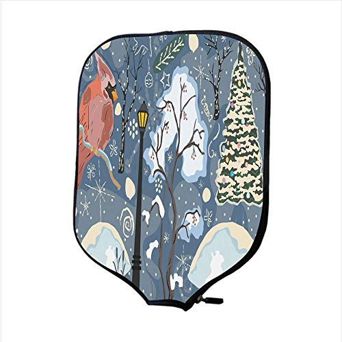 SoSung Neoprene Pickleball Paddle Racket Cover Case/Cute Cardinal in Woodland Forest Merry Christmas Winter Collection Colorful Unique Design/Fit for Most Rackets - Protect Your Paddle Cardinals Light Switch Covers
