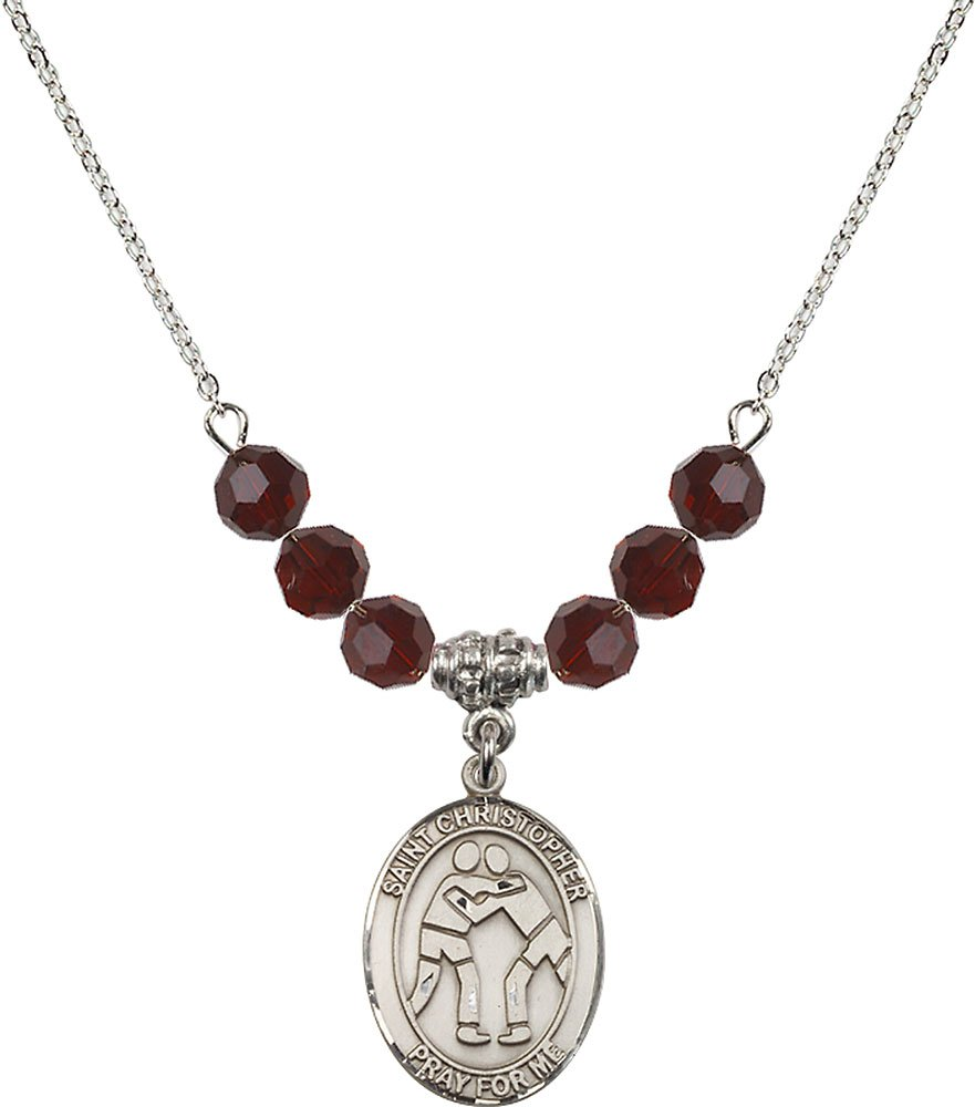 Rhodium Plated Necklace with 6mm Garnet Birthstone Beads & Saint Christopher/Wrestling Charm. by F A Dumont
