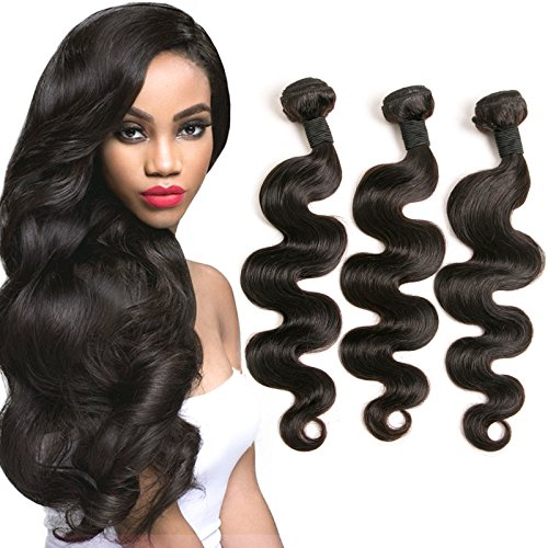 DAIMER Brazilian Body Wave 3 Bundles 20 22 24 Inch Cheap Unprocessed Natural Virgin Hair Natural Color on (Halo Netting)