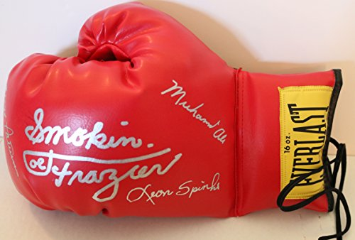 Muhammad Ali, Floyd Patterson, Leon Spinks & Joe Frazier Signed Autographed Everlast Boxing Glove - COA Matching Holograms (Signed Muhammad Boxing Ali Gloves)