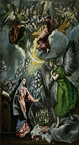 'El Greco Annunciation 1596 1600 ' oil painting, 24 x 44 inch / 61 x 112 cm ,printed on high quality polyster Canvas ,this Best Price Art Decorative Prints on Canvas is perfectly suitalbe for Foyer gallery art and Home decoration and Gifts