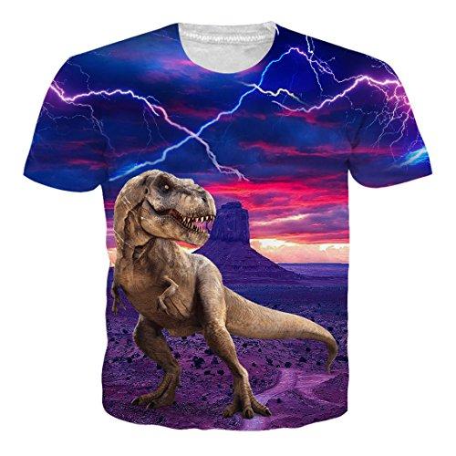 09785352c577 RAISEVERN Unisex 3D Creative Galaxy Printed Short Sleeve T-Shirts Tees