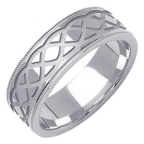 Platinum Celtic Infinity Knot Men's Comfort Fit Wedding Band (7mm) Size-12.5