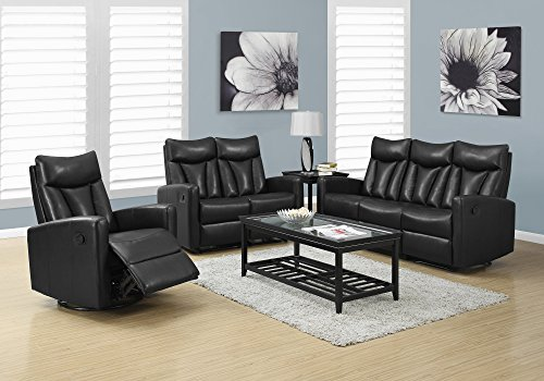 Monarch Specialties I 87BK-3 Reclining Sofa in Black Bonded Leather