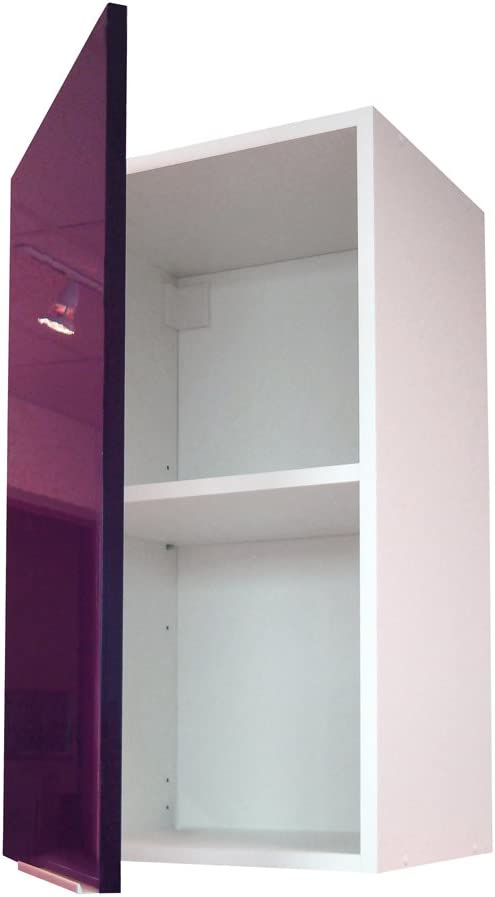1 Puerta, 40 cm Mueble Alto de Cocina Berlenus CP4HN Color Negro Brillante