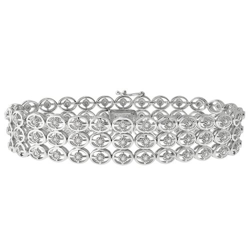 Sterling Silver Three Row Diamond Bracelet (1 CTTW)