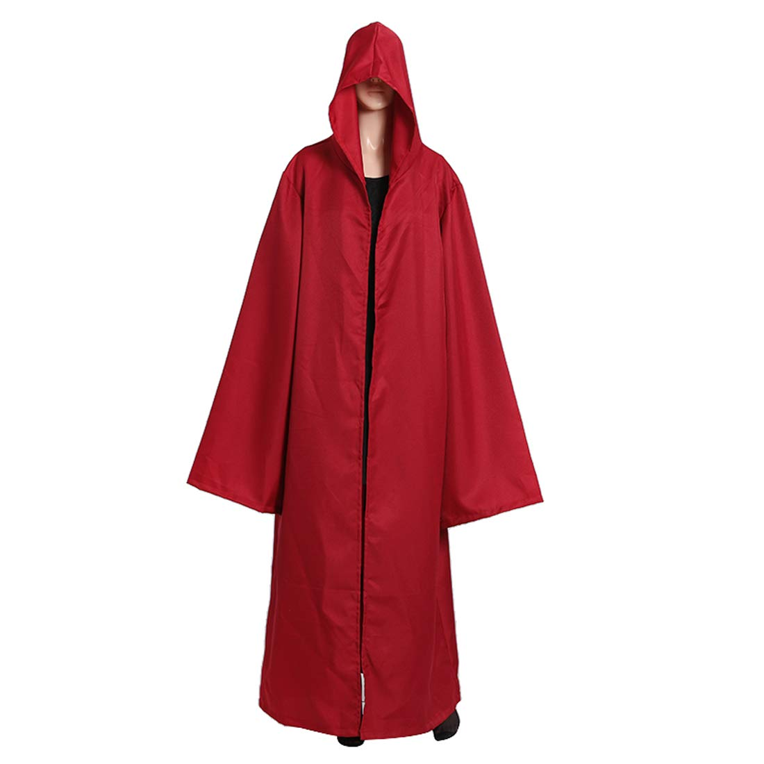 Wgior Men Tunic Hooded Robe Cloak Knight Fancy Cool Halloween Cosplay Costume (L, Red) by Wgior (Image #1)