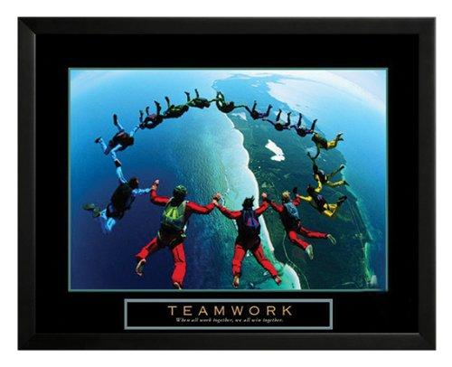 Teamwork - Skydivers II Framed Motivational Poster Print a Black Wood Frame. Made in