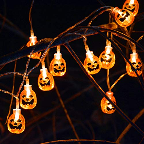 kingleder Halloween Pumpkin String Lights, AA Battery Operated Jack-o-Lantern Pumpkin Skull LED String Light for Halloween Decorations(6.6ft,20leds)