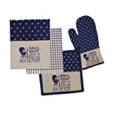 HOME FIBER's 4 pc Embroidered Kitchen Set Collection Oven Mitt, Pot Holder, 1 terry and 1 printed dish towel