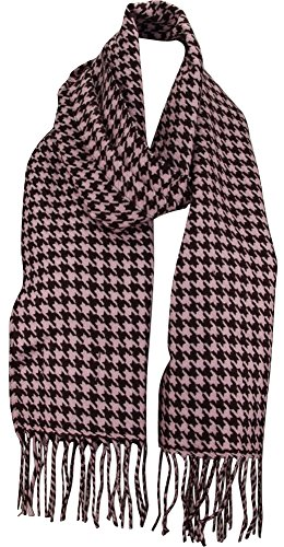 MINAKOLIFE Houndstooth Check Classic Cashmere Feel Men's Winter Scarf (Pink) (Check Pink Houndstooth)