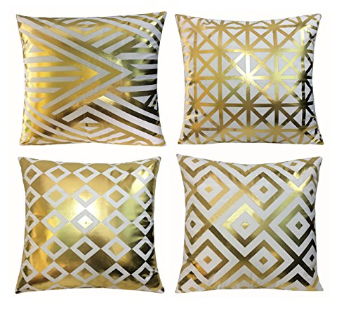 - BLUETTEK Modern Vibrant Gold Foil Print Metallic Shiny Soft Pillow Covers Set for Bedroom, Living Room, Couch (Gold Geometry Set of 4)
