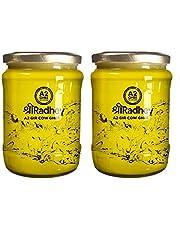 SHREE RADHEY A2 Bilona Gir Cow Ghee   Traditional Bilona Method   Cultured   Immunity Booster   Pure   Natural   Healthy   Fresh   Lactose and gluten free   Keto Friendly   Glass Bottle (500 ML X 2)