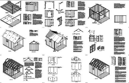 16' x 10' Cabin Loft Utility Shed with Porch Plans / Plueprint - Design #P61610