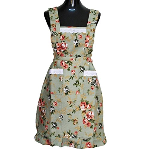 - Hyzrz Lovely Green Lady's Beauful Kitchen Peony Flower Women's Apron with Pockets for Lady Girls