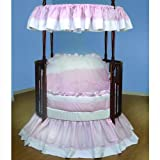 Baby Doll Bedding Regal Pique Round Crib Bedding Set, Pink
