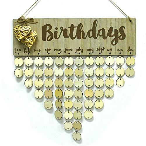YuQi [Mom Birthday Gifts] Birthday Wall Hanging Calendar,Wooden Birthday Reminder Plaque Sign Birthdays DIY Calendar Hanging Board Personalized Gifts for Mom