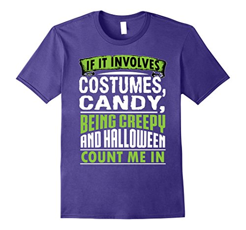 Count On Me Halloween Costume (Mens Funny Cute Costumes Candy Halloween Count Me In Shirt XL Purple)