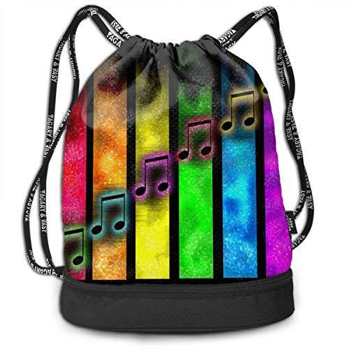 (HUVATT Drawstring Bag Music Note Piano Key Womens Gym Backpack Special Mens Travel Canvas Bags Senior)