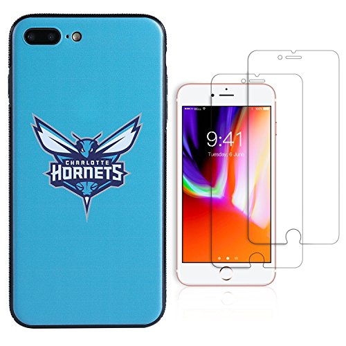 "Sportula NBA Phone Case give 2 Tempered Glass Screen Protectors - Extra Value Kit for iPhone 8 Plus/iPhone 7 Plus (5.5"") (Charlotte Hornets)"