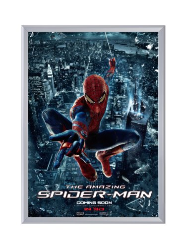 Silver Movie Poster Frame 30 x 40 Inches, 1.25 Aluminum Profile, Front Loading Snap Display, Wall Mount, Professional Series
