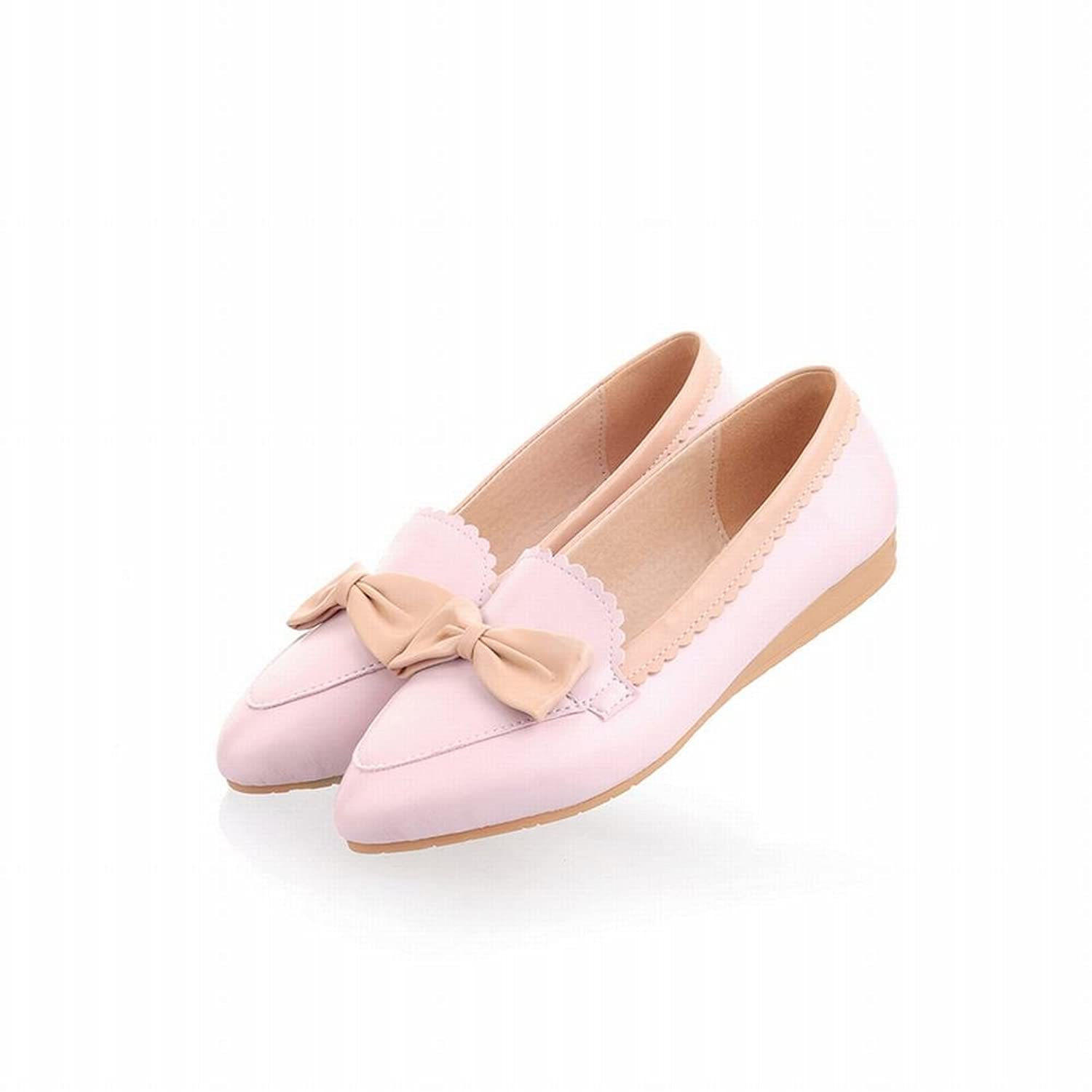 f7aa63555125 Show Shine Women s Fashion Sweet Bow Pointed Toe Low Heel Wedge Shoes  Loafer Flats Shoes durable
