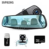 Dash Cam 1080P Full HD 4.3'' LCD Rearview Mirror Car Video Recorder Dual Lens Vehicle Camera Car DVR Road Car camera with Night Vision Motion Detection with 16GB C10 Micro SD Card