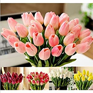 Artificial Tulip Fake Flowers ,Cywulin 10 Pcs Latex Real Touch Bridal Wedding Bouquet Decor for Wedding Bouquet House Office Garden Inddor Outdoor 38