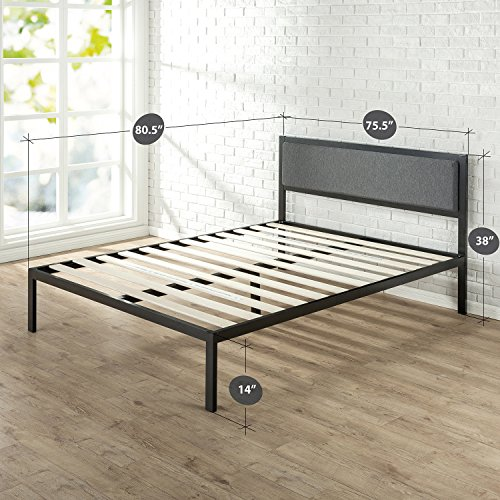 Zinus Korey 14 Inch Platform Metal Bed Frame with Upholstered Headboard / Mattress Foundation / Wood Slat Support, King