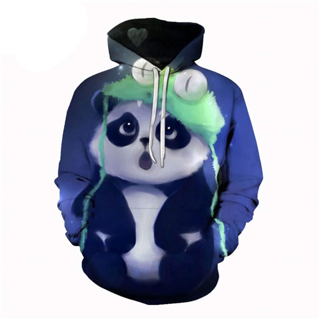Men Women Casual Harajuku Cute Panda Cool 3D Print Hoodies Pocket Sweatshirts Autumn Winter Outdoor Sport Outwear Coat Tops M by navely