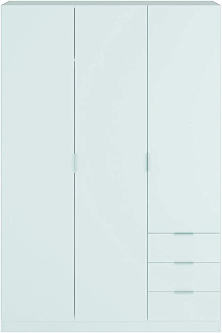 PEGANE Armoire avec 2 tiroirs et 2 Portes Coloris Blanc en m/élamine Dim 180 x 81 x 52 cm