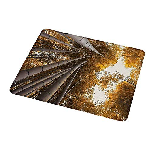 Anti-Slip Gaming Mouse Mat/Pad Bamboo,Bottom to Top Bamboo Grove Fall Landscape Potential for Improvement Symbol Print,Yellow Brown,Gaming Non-Slip Rubber Large Mousepad 9.8