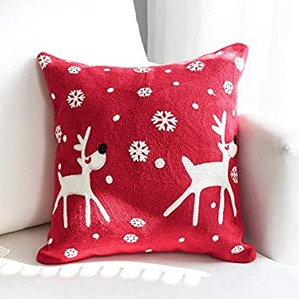 Image ofLLWYH Fundas De Cojín Decorativas Sofá De Navidad Bordado Decorado Funda De Almohada Cuadrada 45X45Cm (Sin Núcleo De Almohada) E