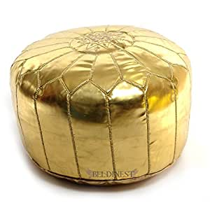 Moroccan Gold Ski Leather Pouffes, Pouffe, Ski Leather Ottoman, Hassock, Tuffet, Foot Stool, Ski Leather Seating, Foot Rest, Handmade Pouffe Comes Unstuffed
