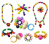 Pop Snap Beads Set with Letters DIY Jewelry Making Kit for Necklace,Ring,and Bracelet for Ages 3 +(150 PCS) by Little-KINDS