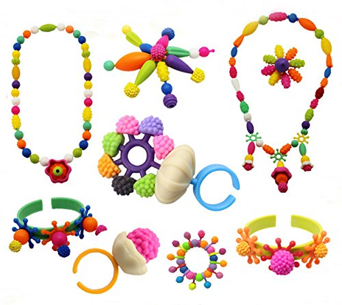 Old Plastic Beads (Pop Snap Beads Set with Letters DIY Jewelry Making Kit for Necklace,Ring,and Bracelet for Ages 3 180 PCS by Little-KINDS)