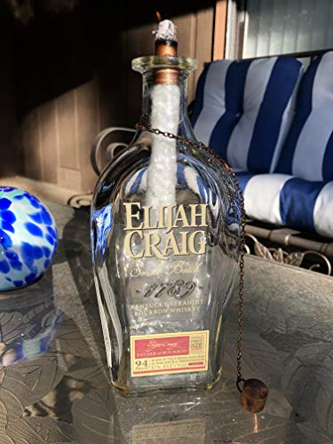 Tiki Torch - Elijah Craig Small Batch 1789 Kentucky Straight Bourbon Whiskey Bottle - Oil Lamp - Outdoor Lighting - Garden Decor - Bourbon ()