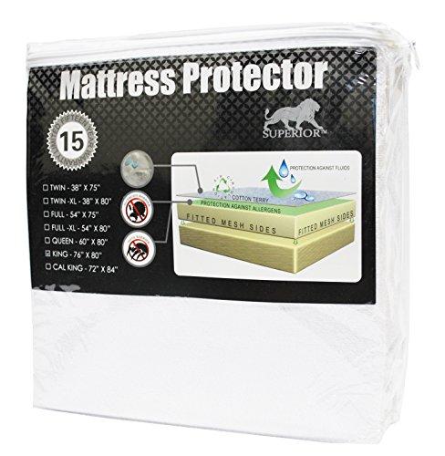 - Superior Queen Waterproof Mattress Protector 100% Cotton,Hypoallergenic Protection