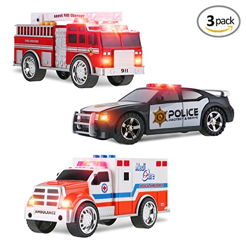 Emergency Vehicle Set (3-in-1 Emergency Vehicle Toy PlaySet for Kids w/ Lights and Sounds (Fire Truck, Police Car, Ambulance))