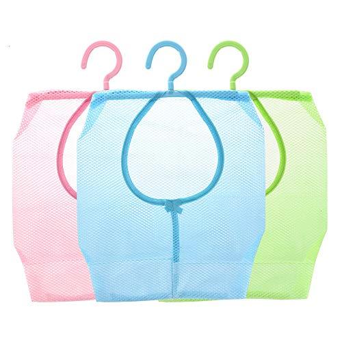 Feeko Clothespin Bag, 3pcs Hanging Mesh Storage Mesh Bag Portable Multi Purpose Bathroom Shower Storage Bag Coat Rack Wardrobe Tissue Bag Laundry Basket ()