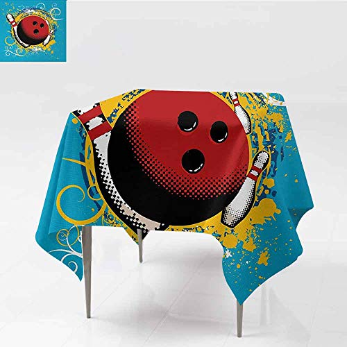 DILITECK Elegant Waterproof Spillproof Polyester Fabric Table Cover Bowling Party Fun Hobby Retro Style Ball Floral Swirls with Color Splashes Pop Art Great for Buffet Table W54 xL54 Blue Red Yellow (Pony Floral Ball)