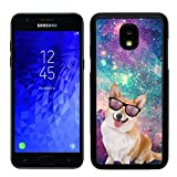 Sai Case Designer Hard Case for Galaxy J3 2018 - Hipster Corgi Dog Galaxy Space - - Plastic Back Snap on Cover